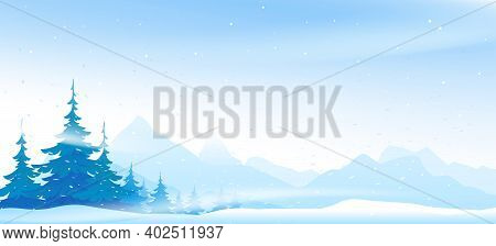 Snow Blizzard In Winter Mountain With Spruce Forest, Spruce Forest Trees Inclined From Snowstorm, Wi