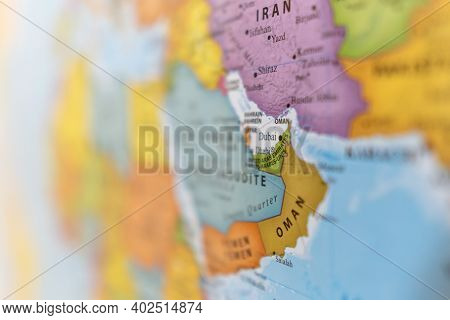 Defocused Country Map Of The United Arab Emirates (dubai) In The Middle East On Gulf.