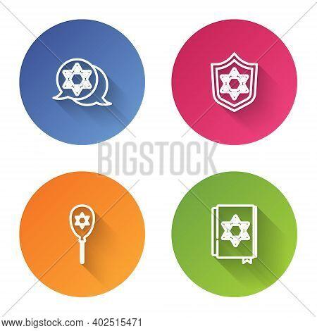 Set Line Star Of David, Shield With, Balloon Star David And Jewish Torah Book. Color Circle Button.