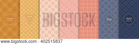 Vector Geometric Seamless Patterns Collection. Set Of Vintage Pastel Backgrounds With Elegant Minima