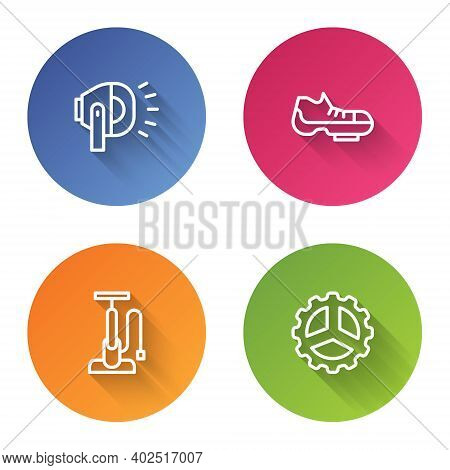 Set Line Bicycle Head Lamp, Shoes, Air Pump And Sprocket Crank. Color Circle Button. Vector