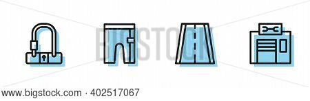 Set Line Bicycle Lane, Lock, Cycling Shorts And Repair Service Icon. Vector