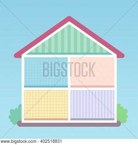 Village House Cutaway Flat Style Vector Illustration