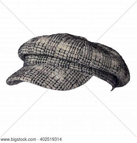 Fashion Gray Black Hat With Visor Isolated On White Background.cap Female. Colored Hat .