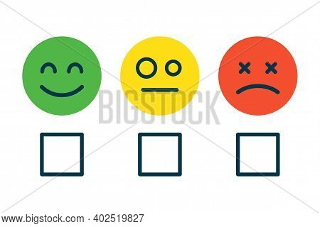 Concept Of Satisfaction Rating, Level Of Rank, Customer Feedback Emotions. Positive, Neutral And Neg