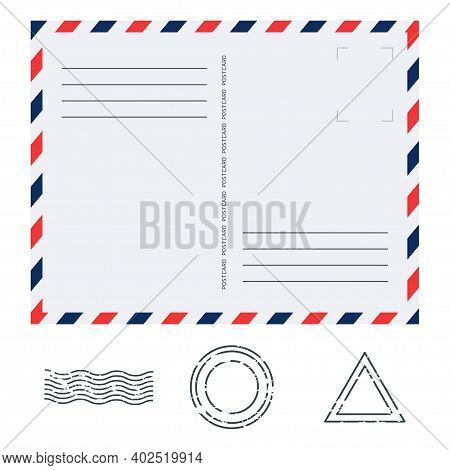 Postcard In Air Mail Style With Paper Texture And Rubber Stamps On White Background. Blank Airmail M