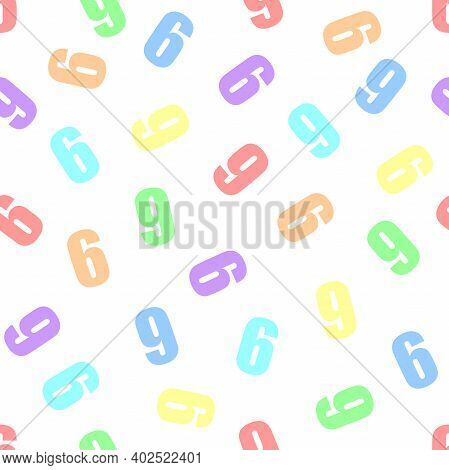 Endless Seamless Pattern Of Numbers 6 Or 9 (six Or Nine) On A White Background. Painted In Rainbow C