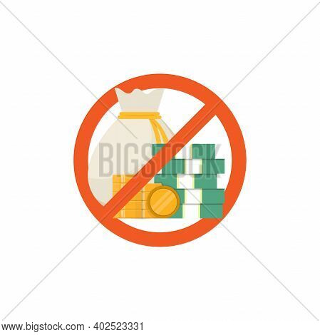 Stop Corruption, Money And Stop Sign, Flat Design Vector Illustration