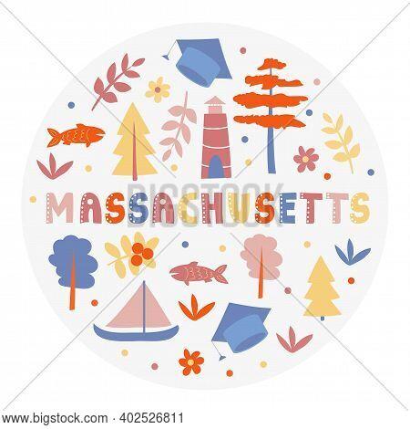 Usa Collection. Vector Illustration Of Massachusetts Theme. State Symbols - Round Shape