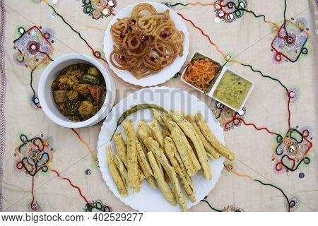 Uttarayan, Maar Sankranti, Special Food Items From Gujarat Fafda, Faafda, Jalebi, Raw Papaya Salad,