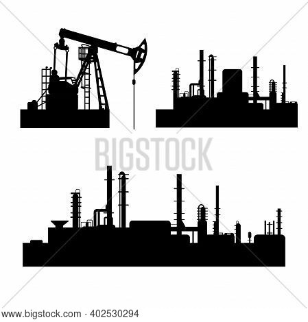 Collection Of Black And White Oil And Gas Industry Silhouettes. Vector Isolated Symbols Of Petroleum