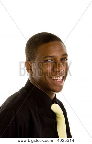 Young Black Man Yellow Tie Laughing