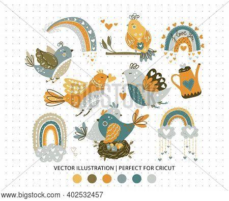 Cute Romantic Bird Couple And Rainbow Cartoon Print. Hand Drawn Girly Vector Illustration. Design Fo