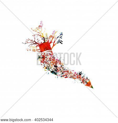 Colorful Pencil With Musical Notes And Trees Isolated. Creative Writing, Composing Music, Education