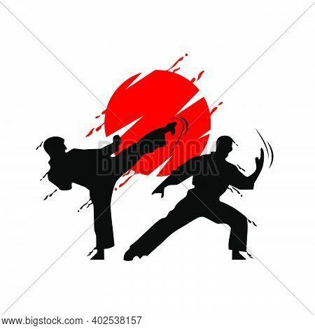 Silhouette Martial Art Fighting Poster Design Vector