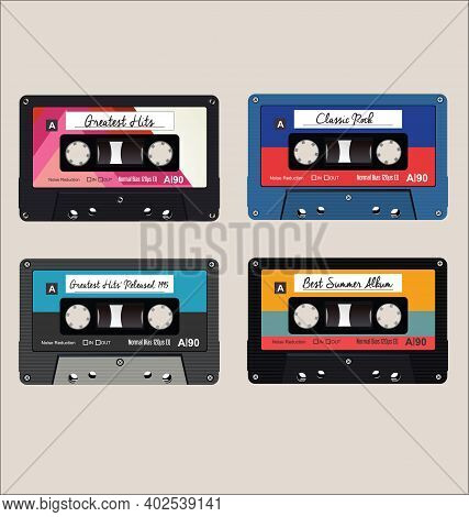 Old Colorful  Audio Cassettes Background Vector Design