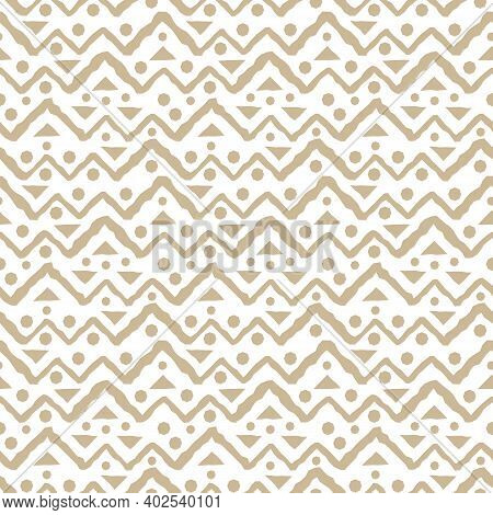 Beige And White Cute Seamless Repeat Pattern With Jagged Lines Of Triangles, Broken Lines And Circle