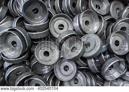 Abstract Heavy Industry Production Full Frame Background - Stamped Round Workpieces