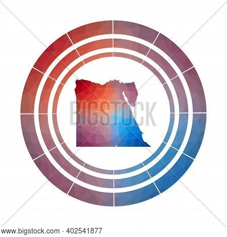 Egypt Badge. Bright Gradient Logo Of Country In Low Poly Style. Multicolored Egypt Rounded Sign With