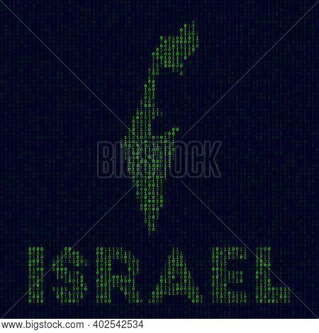 Digital Israel Logo. Country Symbol In Hacker Style. Binary Code Map Of Israel With Country Name. Ra