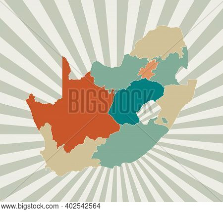 South Africa Map. Poster With Map Of The Country In Retro Color Palette. Shape Of South Africa With