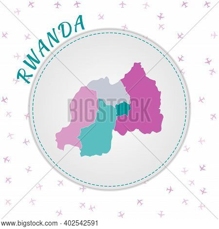 Rwanda Map Design. Map Of The Country With Regions In Emerald-amethyst Color Palette. Rounded Travel