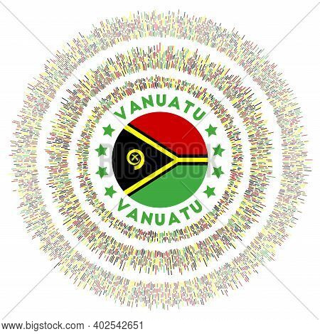 Vanuatu Symbol. Radiant Country Flag With Colorful Rays. Shiny Sunburst With Vanuatu Flag. Captivati