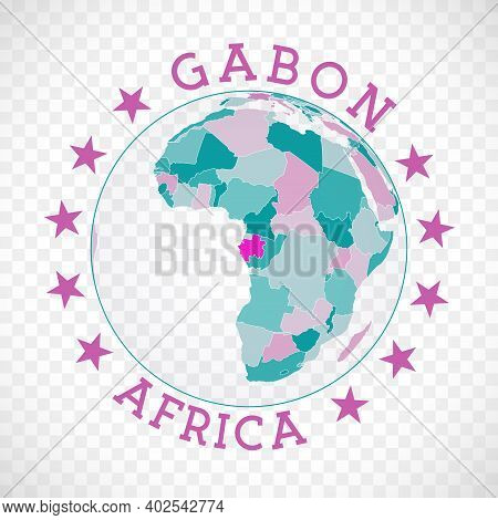 Gabon Round Logo. Badge Of Country With Map Of Gabon In World Context. Country Sticker Stamp With Gl