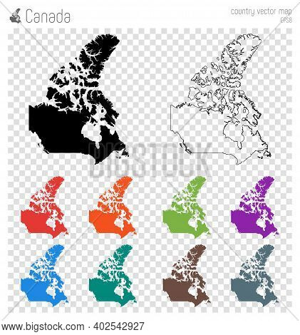 Canada High Detailed Map. Isolated Black Country Outline. Vector Illustration.
