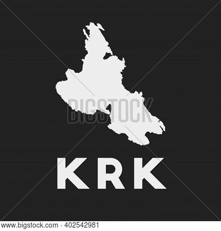 Krk Icon. Island Map On Dark Background. Stylish Krk Map With Island Name. Vector Illustration.