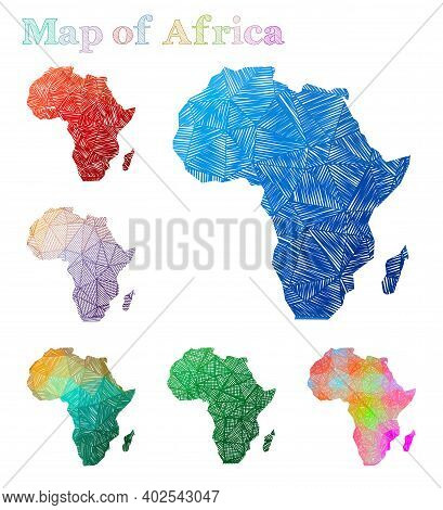 Hand-drawn Map Of Africa. Colorful Continent Shape. Sketchy Africa Maps Collection. Vector Illustrat