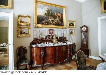 Horovice Castle Interior, Baroque Chateau, Wooden Chest Of Drawers, Porcelain Dishes, Service And Sa