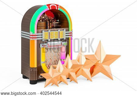 Customer Rating Of Classic Jukebox. 3d Rendering Isolated On White Background