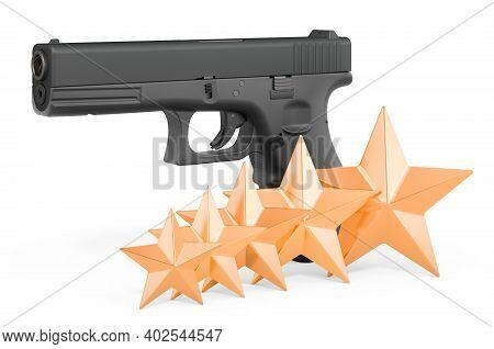 Customer Rating Of Handgun. 3d Rendering Isolated On White Background