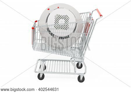 Shopping Cart With Fire And Flame Detector, 3d Rendering Isolated On White Background