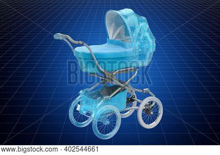 Visualization 3d Cad Model Of Baby Stroller, Blueprint. 3d Rendering
