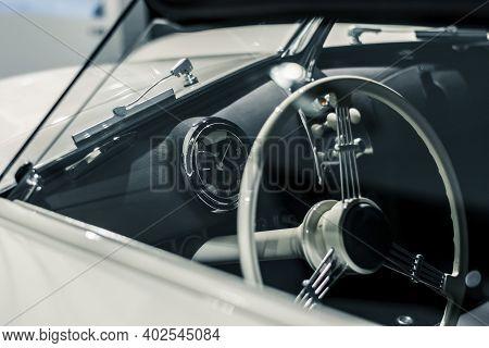 Stuttgart, Germany 6 March 2020: The Porsche 356 Speedster Prototype 1954 Convertible. Details Of Wi