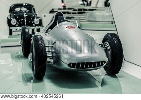 Stuttgart, Germany 6 March 2020:  Back View Of Porsche Type 360 (1948)  Cisitalia At Porsche Museum.