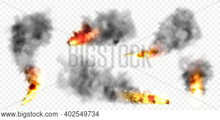 Realistic Black Smoke Clouds And Fire. Flame Blast, Explosion. Stream Of Smoke From Burning Objects.