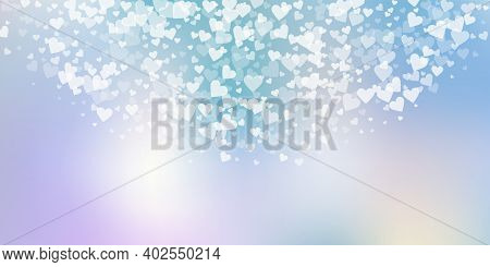 White Heart Love Confettis. Valentines Day Semicircle Exceptional Background. Falling Transparent He
