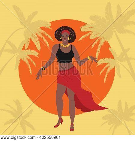 Carribean, Latin Or African American Woman Dancing Salsa, Bachata, Merengue, Cha-cha, Mambo Or Aothe