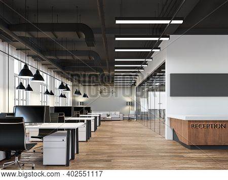 Modern Loft Style Office Interior 3d Render.there Are White And Gray Wall,old Wood Floor,black Ceili