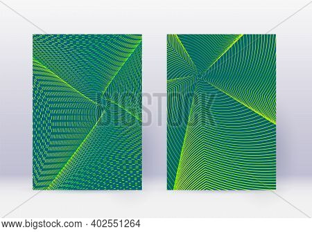 Cover Design Template Set. Abstract Lines Modern Brochure Layout. Green Vibrant Halftone Gradients O
