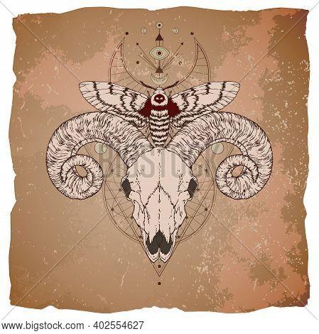 Vector Illustration With Hand Drawn Ram Skull, Dead Head Moth And Sacred Geometric Symbol On Vintage