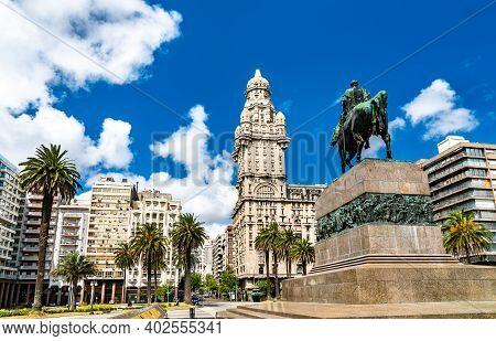 Artigas Mausoleum And Salvo Palace In Montevideo, The Capital Of Uruguay