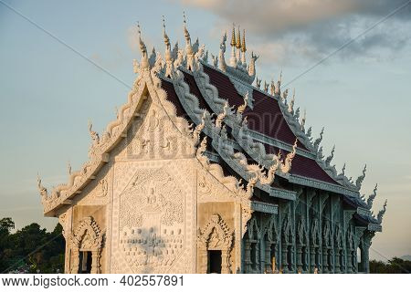 The Beautiful Viharn (assembly Hall) Of Wat Huay Pla Kang Temple An Iconic Landmark In Chiang Rai Pr