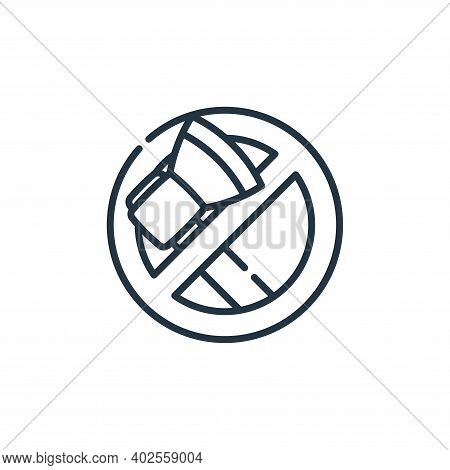 no cutting icon isolated on white background. no cutting icon thin line outline linear no cutting sy