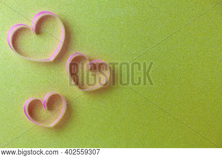 World Health Day Background, Healthcare And Medical Background Concept Of Heart Ribbon On Gold Paper