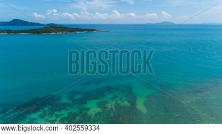 Aerial View Of Beautiful Island In Tropical Sea Summer Season Sunny Day,nature Environment And Trave