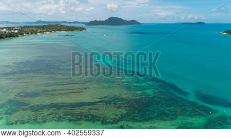 Aerial View Top Down Of Coral Reefs In The Tropical Sea In Summer Season Sunny Day,nature Environmen